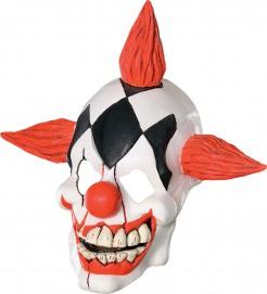 Böser Clown-Latexmaske Horrorclown-Maske weiss-rot-schwarz