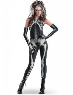Sexy Skelett-Lady Halloween-Damenkostüm schwarz-weiss