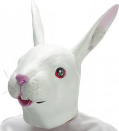 Gruselige Hasen-Maske Halloween-Maske weiss-rosa