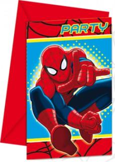 Spiderman™-Einladungskarten mit Umschlag Marvel™-Deko 6 Stück rot-blau