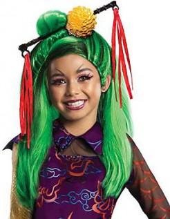 Jinafire Long Monster High-Perücke für Mädchen grün-rot-gelb