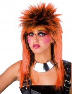 Punkrockerin Damen-Perücke orange-schwarz