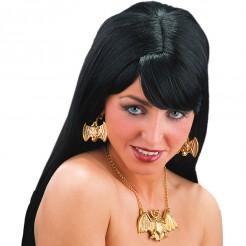Edles Vampirin Schmuck-Set mit Ohrringen und Halskette 3-teilig gold