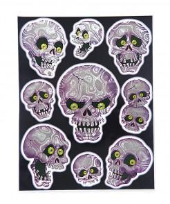 Totenschädel Hologramm-Sticker Halloween-Deko-Set 9-teilig lila-grau 30x40cm