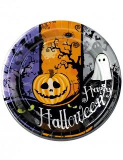 Happy Halloween Pappteller mit Kürbis und Geist Tischdeko 10 Stück bunt 23cm