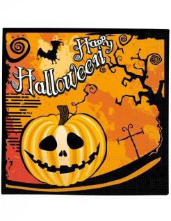 Happy Halloween Servietten mit Kürbis Tischdeko 20 Stück orange-schwarz-weiss 33 x 33cm