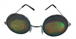 Runde Metall-Brille mit Kürbis-Hologramm bunt