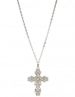 Kreuz-Halskette mit Zier-Edelsteinen silber