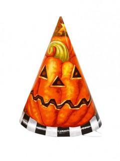 Halloween-Set Kürbis-Papphüte 6 Stück orange-weiss-schwarz