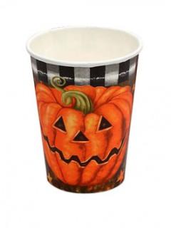 Kürbis Becher Halloween Tischdeko Set 6 Stück orange-schwarz 9cm