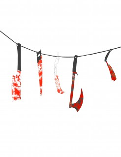 Blutige Girlande Folter-Instrumente Halloween Party-Deko rot-bunt 118cm