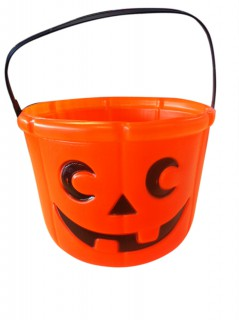 Kürbis Halloween-Eimer Trick or Treat orange 14cm