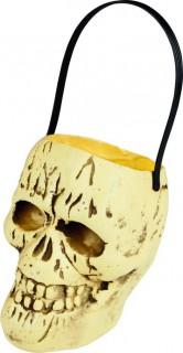 Totenkopf Eimer Halloween Party-Deko beige-schwarz 17x15cm