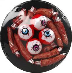 Teller mit Augen und Fingern Halloween Party-Deko rot 20cm
