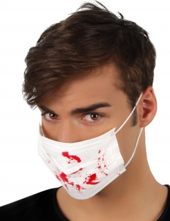 Mundschutz mit Blutflecken Halloween Kostümaccessoire weiss-rot