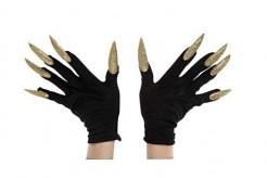 Schwarze Handschuhe mit langen goldenen Nägeln für Erwachsene schwarz-gold