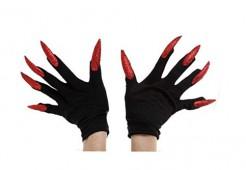 Schwarze Handschuhe mit langen roten Nägeln für Erwachsene rot