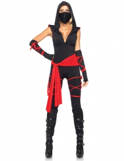Mysteriöser Ninja Damen-Kostüm schwarz-rot