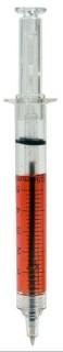 Spritzen-Kugelschreiber für Halloween transparent-rot 13cm