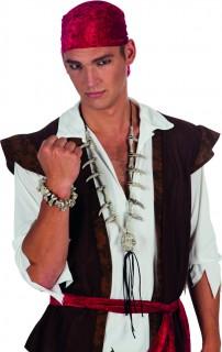 Totenkopf Halloween-Halskette mit Knochen grau