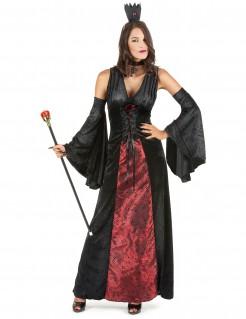 Dunkle Vampir-Königin Halloween Kostüm für Damen schwarz-rot