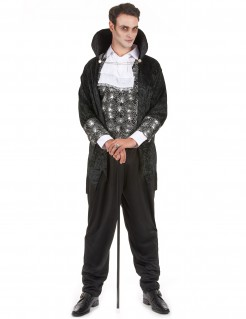 Eitler Vampir-Gentleman Halloween-Herrenkostüm schwarz-grau-weiss