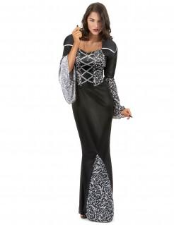 Anmutige Vampir-Baronin Halloween Kostüm für Damen schwarz-silber