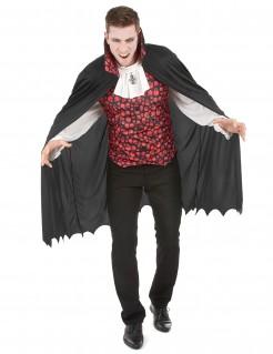 Eleganter Vampir Halloween Herrenkostüm schwarz-rot-weiss