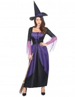 Hexen-Damenkostüm Zauberin lila-schwarz