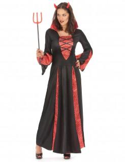 Dämonisches Teufelin Kostüm für Damen rot-schwarz