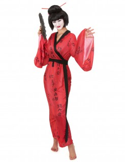 Kostüm-Kimono für Damen rot-schwarz
