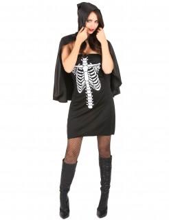Sexy Skelett-Kleid mit Cape schwarz-weiss