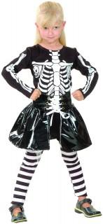 Skelett-Kleid Halloween-Mädchenkostüm Lack-Optik schwarz-weiss