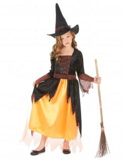 Hexen-Kinderkostüm Halloween-Mädchenkostüm orange-schwarz