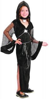 Schwarze Witwe Hexe Halloween Kostüm für Kinder schwarz-silber