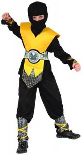 Schickes Ninja-Kostüm für Jungen Halloween-Kostüm schwarz-gelb