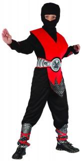 Ninja-Jungenkostüm Halloween-Kostüm schwarz-rot-silber