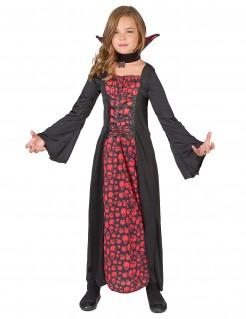 Kleines Vampirmädchen Halloween-Kinderkostüm schwarz-rot