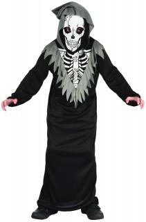 Schauriger Skelett-Sensenmann Halloween-Kinderkostüm schwarz-grau