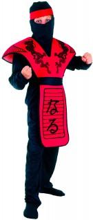 Ninja-Kostüm für Jungen Kinder Drache rot-schwarz