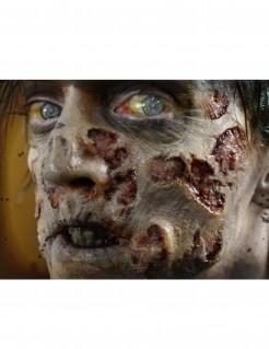 Verweste Zombie-WundenAbziehbilder Halloween Kostümzubehör 4-teilig grau-rot