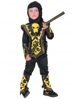Ninja-Kostüm für Kinder Jungen schwarz-gelb