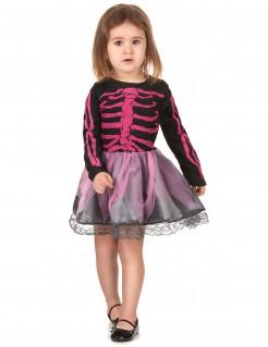 Skelettkleid-Kinderkostüm Halloween-Mädchenkostüm schwarz-pink