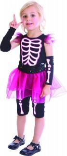 Skelett-Kinderkostüm mit Rock schwarz-pink-weiss