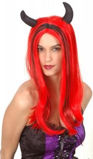 Teufelin Damen-Perücke mit Hörnern rot-schwarz