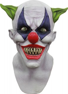 Monsterclown-Maske Horrorclown Latexmaske weiss-bunt
