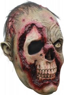 Zombie-Maske Einäugig Halloween Kostümaccessoire hautfarben-rot-schwarz