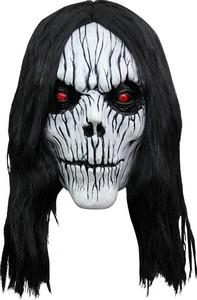 3/4 Latex-Maske Dämonen Maske schwarz-weiss