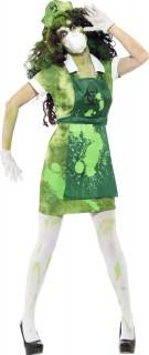 Zombie Strahlenopfer Halloween Damenkostüm grün