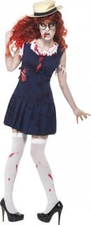 Zombie College-Studentin Halloween Damenkostüm blau-weiss